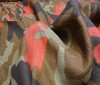 brown ~ beige ~ red 100% Linen Camouflage Fabric