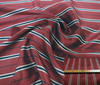 Bordeaux ~ Dark Blue ~ Beige High Quality Striped Silk fabric