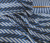 Royal Blue ~ Black ~ White Fine Dog´s-Tooth Check Silk fabric