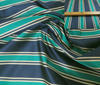 Dark Blue ~ Petrol ~ Beige High Quality Striped Silk fabric