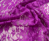 Purple Bi-Stretch Spandex Lace Fabric Flower Design