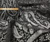 black Burn out velvet paisley fabric