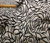 black ~; white Burn out velvet roses fabric